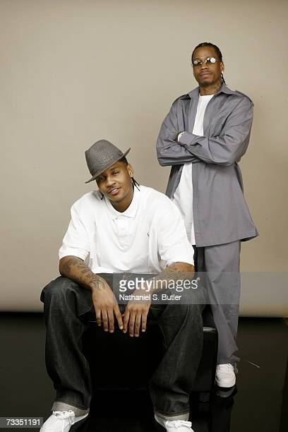 Carmelo Anthony and Allen Iverson of the Denver Nuggets pose for a portrait during 2007 AllStar Media Availability at the Palms Resort and Casino on...