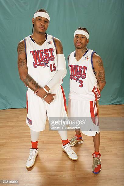 Carmelo Anthony and Allen Iverson of the Western Conference AllStars pose during the 2008 AllStar Game at the New Orleans Arena February 17 2008 in...