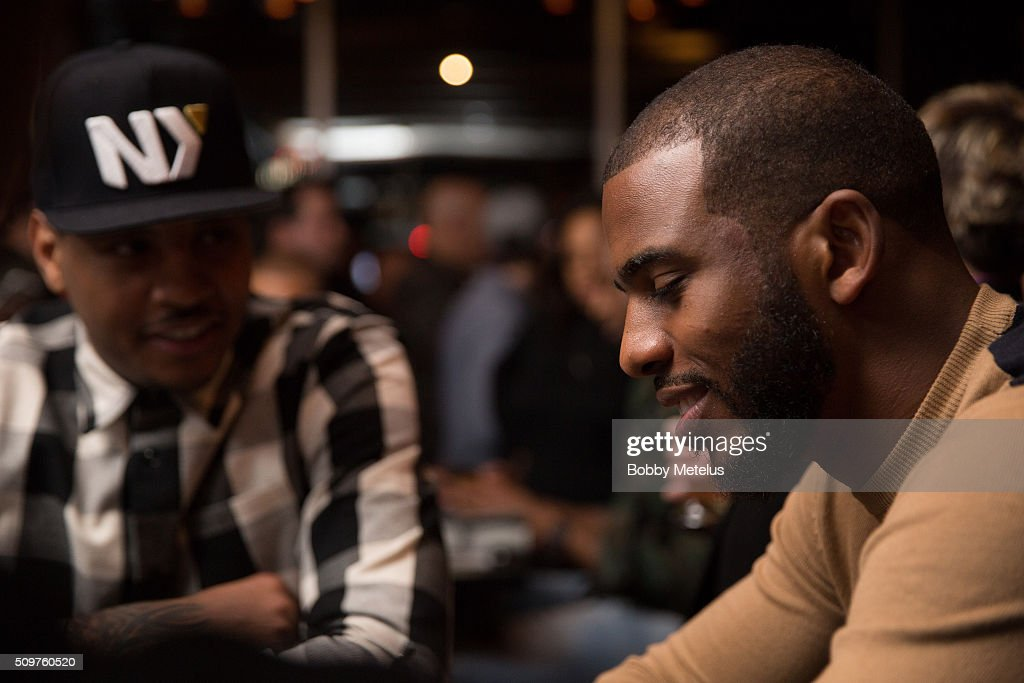 Carmelo Anthony and Chris Paul during the Dwyane Wade and Stance Stocks Spades Tournament at The One Eighty on February 11, 2016 in Toronto, Canada.
