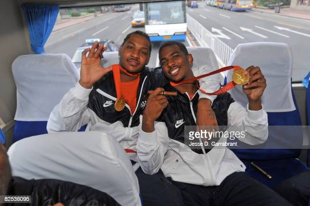 Carmelo Anthony and Chris Paul of the US Men's Senior National Team celebrates winning the men's gold medal at the 2008 Beijing Olympic Games on the...