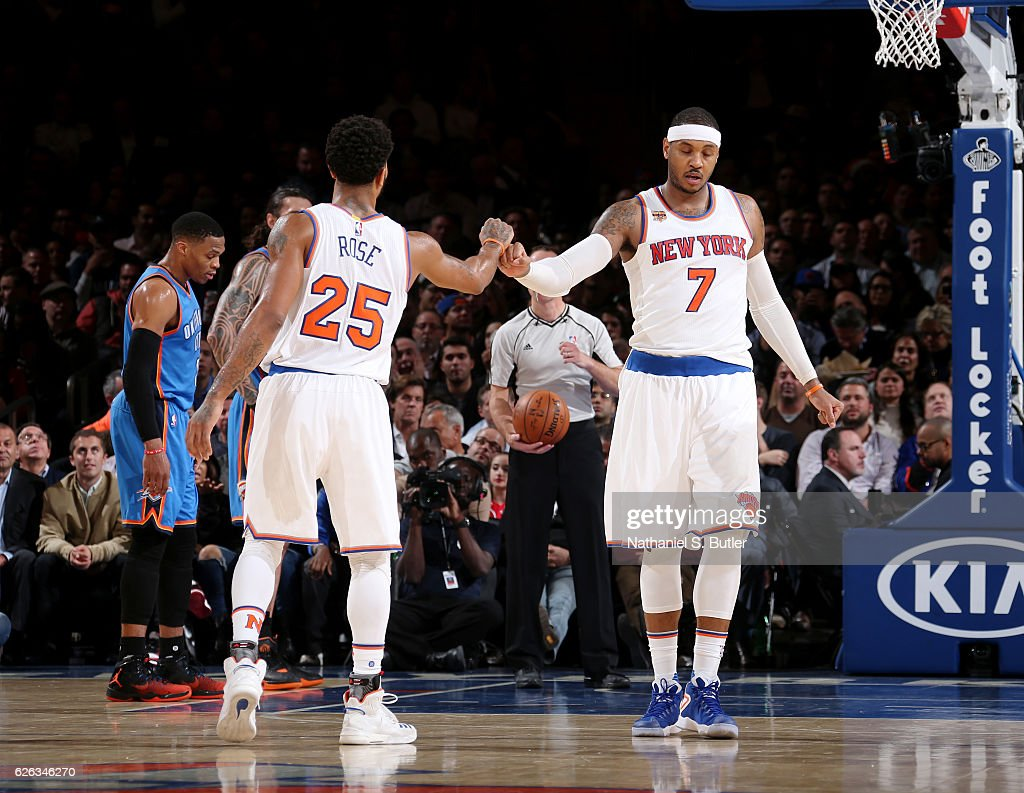 2f64488c185f Carmelo Anthony and Derrick Rose of the New York Knicks shakes hands ...