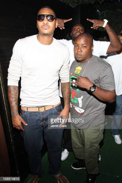 Carmelo Anthony and Jadakiss attend Rihanna's concert after party at Greenhouse on August 12 2010 in New York City