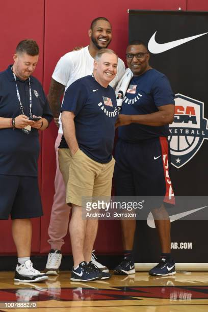 Carmelo Anthony and Keith Jones talk during USAB Minicamp at Mendenhall Center on the University of Nevada Las Vegas campus on July 27 2018 in Las...