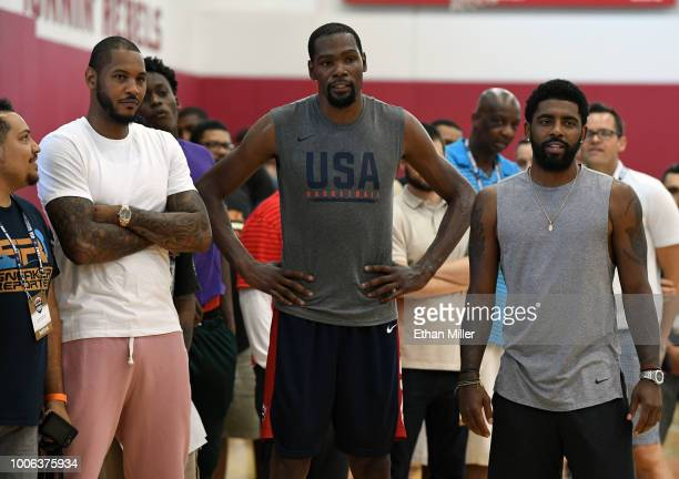 Carmelo Anthony and Kevin Durant and Kyrie Irving of the United States attend a practice session at the 2018 USA Basketball Men's National Team...