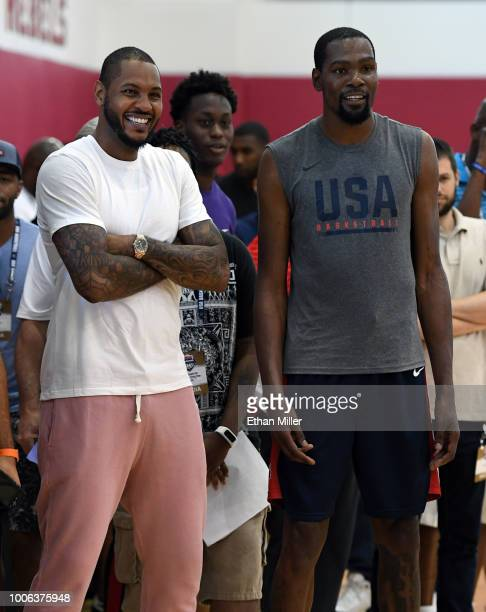 Carmelo Anthony and Kevin Durant of the United States attend a practice session at the 2018 USA Basketball Men's National Team minicamp at the...