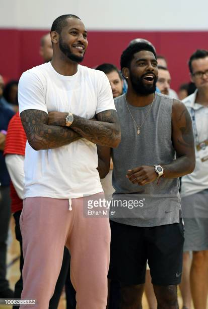 Carmelo Anthony and Kyrie Irving of the United States attend a practice session at the 2018 USA Basketball Men's National Team minicamp at the...