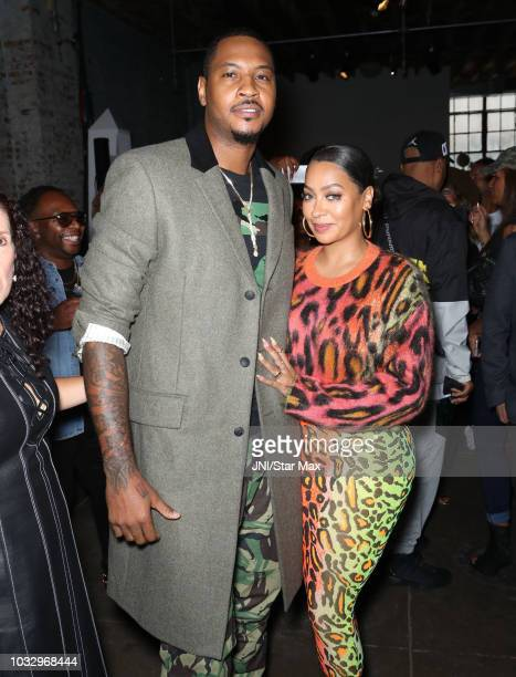 Carmelo Anthony and La La Anthony are seen on September 13, 2018 in New York City.