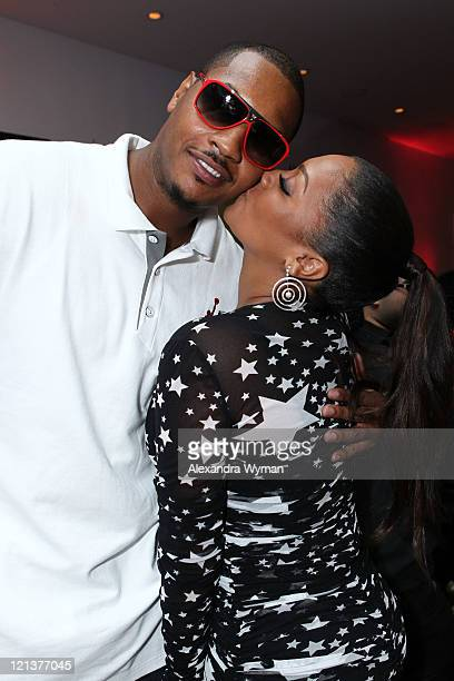 Carmelo Anthony and La La Anthony at 'La La's Full Court Life' Premiere Party held at The Mark on August 18 2011 in Los Angeles California