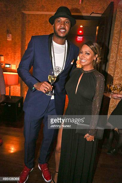 Carmelo Anthony and La La Anthony attend Carmelo Anthony's '30 for 30' Birthday Dinner at The NoMad Hotel on June 2 2014 in New York City