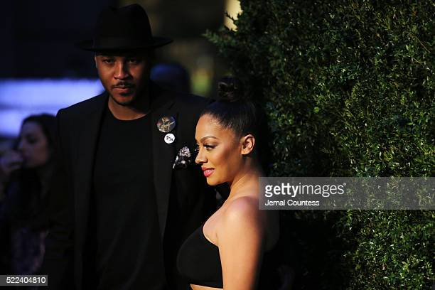 Carmelo Anthony and La La Anthony attend the 11th Annual Chanel Tribeca Film Festival Artists Dinner at Balthazar on April 18 2016 in New York City