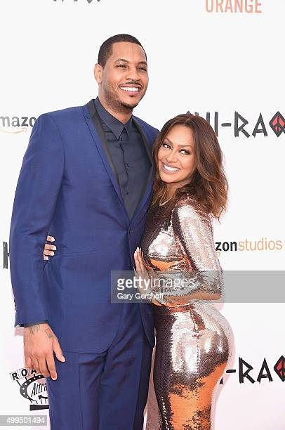 Carmelo Anthony and La La Anthony attend the 'CHIRAQ' New York premiere at Ziegfeld Theater on December 1 2015 in New York City
