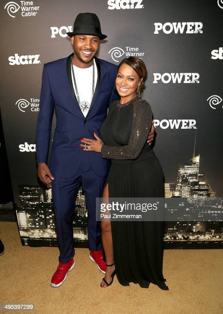 Carmelo Anthony and La La Anthony attend the 'Power' premiere at Highline Ballroom on June 2 2014 in New York City