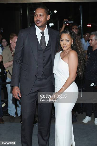 Carmelo Anthony and La La Anthony attend Tom Ford fashion show during New York Fashion Week September 2016 at 99E 52d St on September 7 2016 in New...
