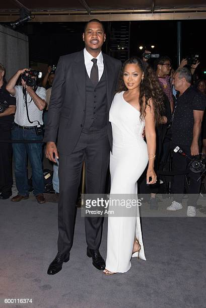 Carmelo Anthony and La La Anthony attend Tom Ford fashion show during New York Fashion Week at 99 East 52nd Street on September 7 2016 in New York...