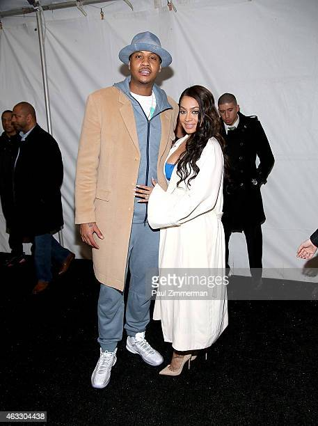 Carmelo Anthony and La La Anthony backstage at Nike/Levi's Kid's show during MercedesBenz Fashion Week Fall 2015 at The Salon at Lincoln Center on...