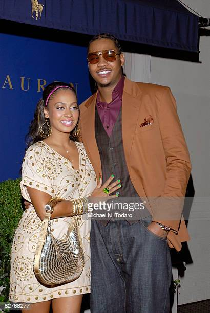 Carmelo Anthony and La La Vasques attend the Lebron James Family Foundation Benefit for an evening of cocktails and private shopping at the Ralph...