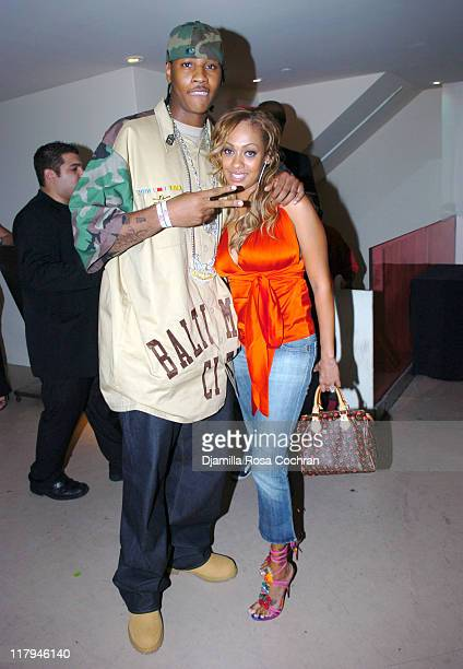 Carmelo Anthony and La La Vasquez during Hakim Warrick and Raymond Felton's Draft Party at Glo June 28 2005 at Glo in New York City New York United...