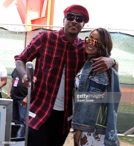 Carmelo Anthony and Lala Anthony attend 2016 Made In America Festival Day 2 on September 4 2016 in Philadelphia Pennsylvania
