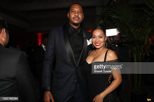 Carmelo Anthony and Lala Anthony attends Swizz Beatz Birthday Celebration on September 12 2018 in New York City