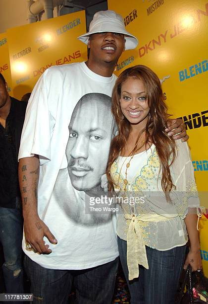 Carmelo Anthony and Lala Vasquez during DKNY Jeans Presents Blender Magazine's 5th Anniversary Party at Studio 450 in New York City New York United...