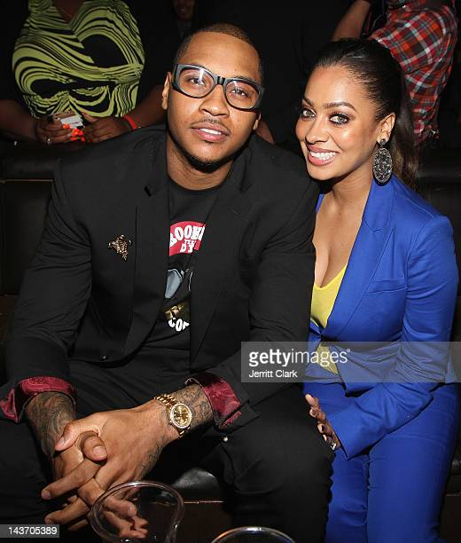 Carmelo Anthony and LaLa Vazquez attend the 4th annual Bronx Charter School For The Arts Art Auction Fundraiser at Marquee on May 2 2012 in New York...