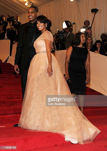 Carmelo Anthony and LaLa Vazquez attend the Alexander McQueen Savage Beauty Costume Institute Gala at The Metropolitan Museum of Art on May 2 2011 in...