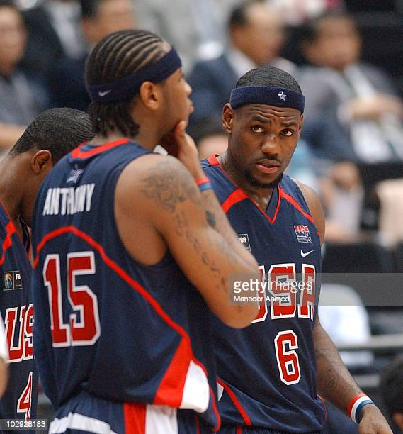 Carmelo Anthony and Lebron James of Team USA during the FIBA World Championship 2006 Semi Final at the Saitama Super Arena Tokyo Japan Friday 1st...