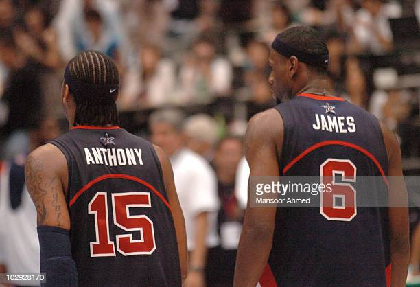 Carmelo Anthony and Lebron James of Team USA head out of the the FIBA World Championship 2006 at the Semi Final stage at the Saitama Super Arena...