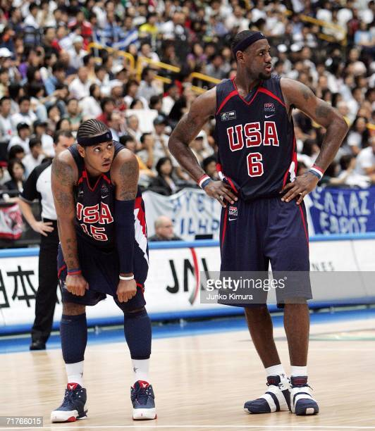 Carmelo Anthony and LeBron James of US wait for the free throw of Greece before the game ended during the FIBA World Championship 2006 Semi-Finals on...