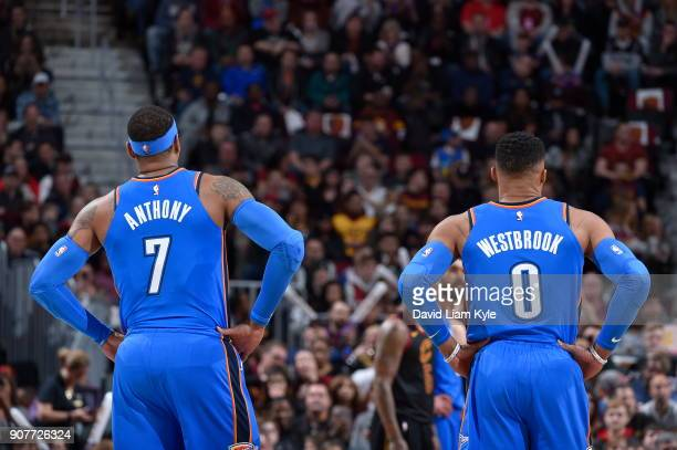 Carmelo Anthony and Russell Westbrook of the Oklahoma City Thunder are seen during the game against the Cleveland Cavaliers on January 20 2018 at...