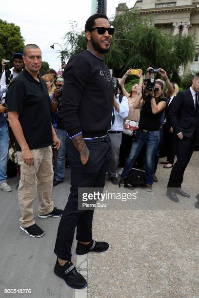 Carmelo Anthony arrives at the Dior Homme Menswear Spring/Summer 2018 show as part of Paris Fashion Week on June 24 2017 in Paris France