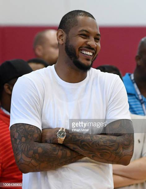 Carmelo Anthony attends a practice session at the 2018 USA Basketball Men's National Team minicamp at the Mendenhall Center at UNLV on July 27 2018...