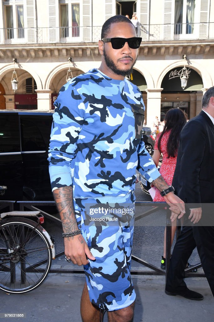 Carmelo Anthony attends the Valentino Menswear Spring/Summer 2019 show as part of Paris Fashion Week on June 20, 2018 in Paris, France.