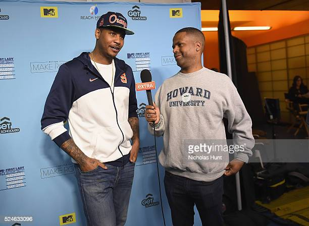 Carmelo Anthony backstage during the 3rd Annual College Signing Day at the Harlem Armory on April 26 2016 in New York City The event cohosted by MTV...