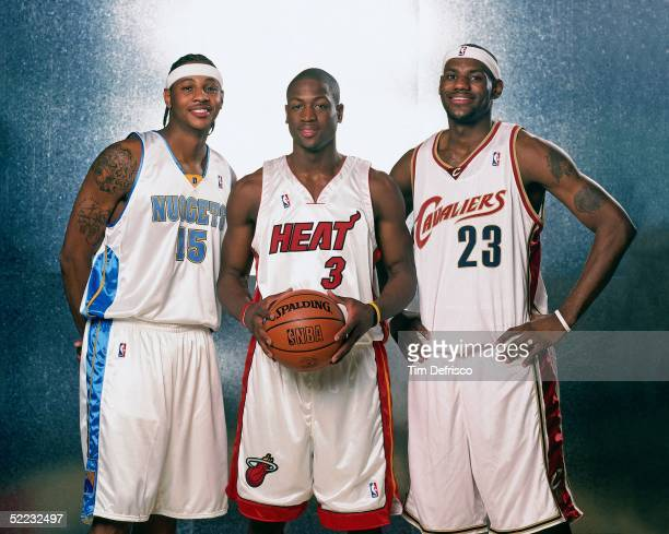 Carmelo Anthony Dwyane Wade and LeBron James of the Sophmore Team poses for a portrait prior to the 2005 Got Milk Rookie Challenge at The Pepsi...
