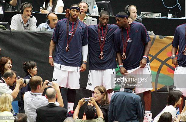 Carmelo Anthony Dwyane Wade and LeBron James of the USA Basketball Mens National Team celebrate against Argentina during the FIBA World Basketball...
