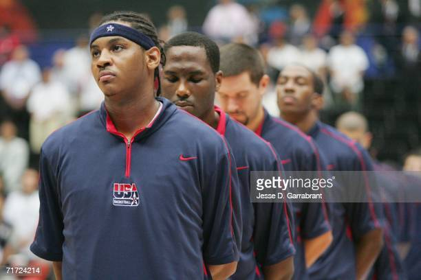 Carmelo Anthony, Elton Brand, Brad Miller and Dwight Howard of the USA Basketball Mens National Team stand in line during the FIBA World Basketball...