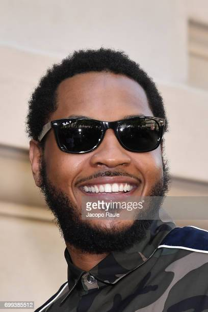 Carmelo Anthony is seen arriving at Valentino fashion show during Paris Fashion Week Menswear Spring/Summer 2018 on June 21 2017 in Paris France
