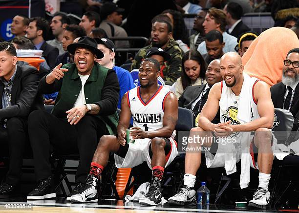 Carmelo Anthony Kevin Hart and Common attend the NBA AllStar Celebrity Game at Madison Square Garden on February 13 2015 in New York City