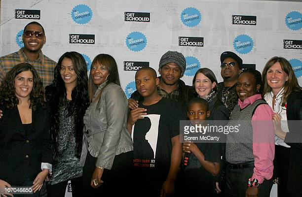 Carmelo Anthony Lala Vasquez Sway and guests attend the Get Schooled National Challenge and Tour on November 19 2010 in Denver Colorado