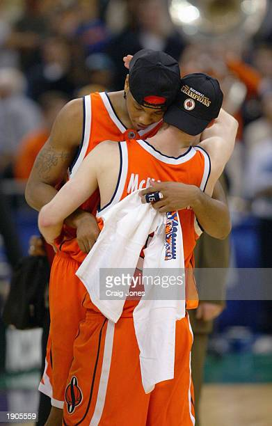Carmelo Anthony of Syracuse hugs teammate Gerry McNamara after defeaing Kansas 81-78 during the championship game of the NCAA Men's Final Four...
