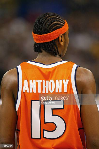 Carmelo Anthony of Syracuse looks on against Kansas during the championship game of the NCAA Men's Final Four Tournament on April 7 2003 at the...