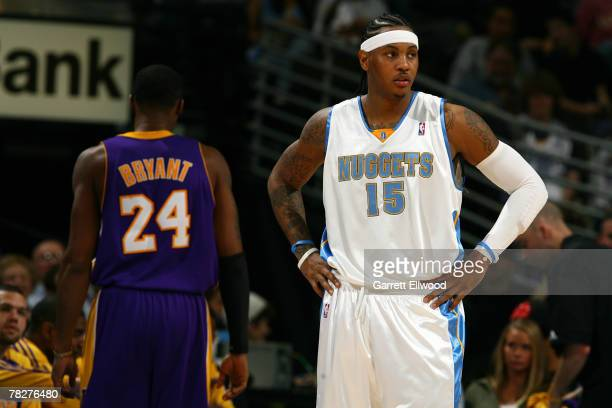 Carmelo Anthony of the Denver Nuggets and Kobe Bryant of the Los Angeles Lakers during the game on December 5 2007 at the Pepsi Center in Denver...