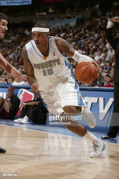 Carmelo Anthony of the Denver Nuggets drives against the Cleveland Cavaliers on January 18 2006 at the Pepsi Center in Denver Colorado The Nuggets...