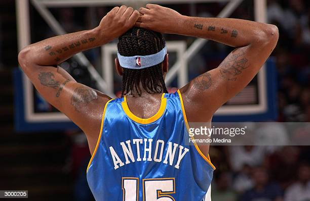 Carmelo Anthony of the Denver Nuggets during a game against the Orlando Magic at TD Waterhouse Centre on February 20 2004 in Orlando Florida The...