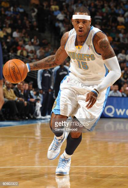 Carmelo Anthony of the Denver Nuggets goes to the basket against the Memphis Grizzlies on November 1 2009 at the Pepsi Center in Denver Colorado NOTE...