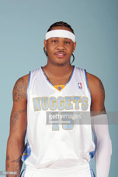 Carmelo Anthony of the Denver Nuggets poses during NBA Media Day at the Pepsi Center on October 2 2006 in Denver Colorado NOTE TO USER User expressly...