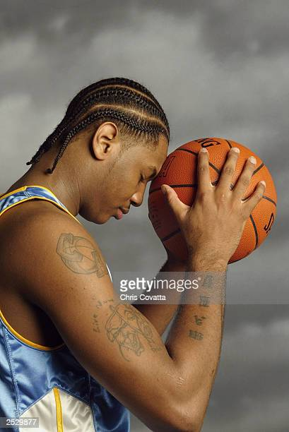 Carmelo Anthony of the Denver Nuggets poses during the 2003 NBA Rookie shoot at the MSG Training Facility on August 7, 2003 in Tarrytown, New York....