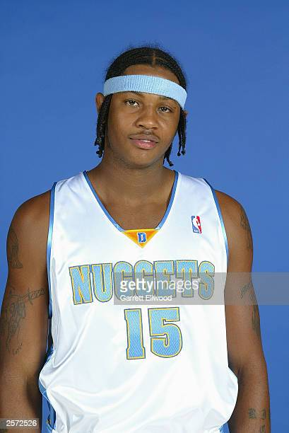 Carmelo Anthony of the Denver Nuggets poses for a portrait during NBA Media Day at the Pepsi Center on October 2, 2003 in Denver, Colorado. NOTE TO...