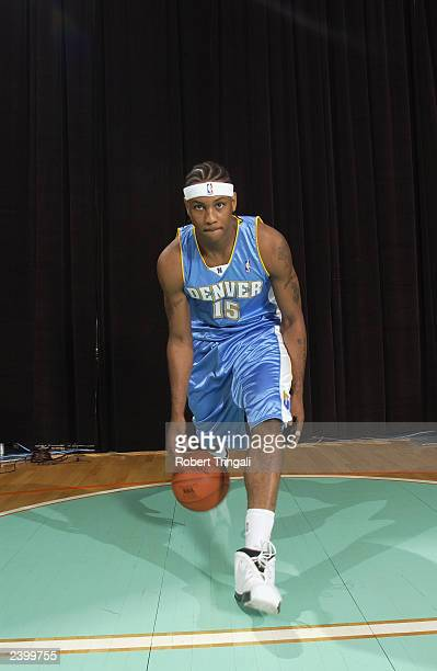 Carmelo Anthony of the Denver Nuggets poses for a portrait during the NBA Rookie Shoot at the MSG Training Facility on August 7 2003 in Tarrytown New...
